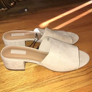 Forever 21 Taupe Low Heel Suede Sandals